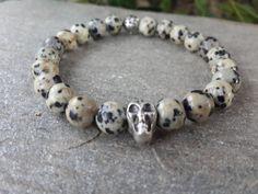 Mens Dalmation Jasper Gemstone Skull Bracelet - Men's Bracelet - Tribal Bracelet, Meditation Yoga Japa Mala, Men Jewelry, Free Shipping by Braceletshomme