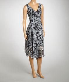 Look at this #zulilyfind! AA Studio Black & White Floral Georgette Maxi Dress by AA Studio #zulilyfinds