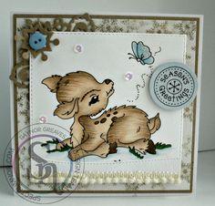 Gaynor Greaves - Spring deer digi stamp from cuddly buddly - Spectrum Noir pens and pencils GB2 - CG4 - 64 - 102 - 110 #spectrumnoir #Christmas
