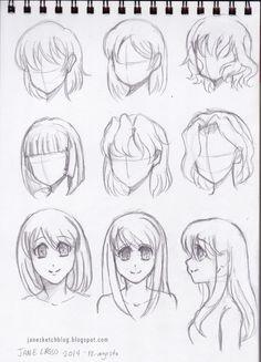 Dibujos y práctica de cabellos manga                                                                                                                                                     Más