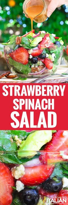 Best Ever Strawberry Spinach Salad will rock your world! This simple recipe is a celebration of summers bounty in the most spectacular salad you will ever eat. Perfect for a 4th of July get together!