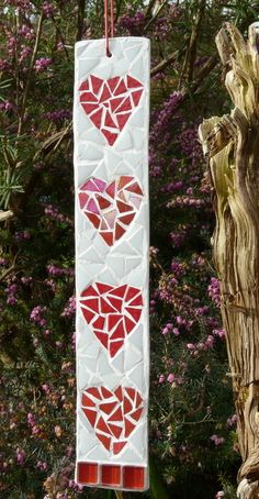 Four Red Hearts Mosaic - Folksy