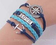 Love braceletAnchor bracelet compass bracelet charm by NewGifts, $4.99