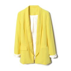 Semi-open Collar Yellow Blazer (88 CAD) ❤ liked on Polyvore featuring outerwear, jackets, blazers, tops, lapel jacket, long sleeve blazer, blazer jacket, long sleeve jacket and collar jacket