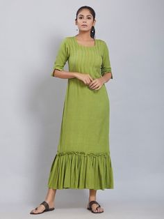 3187b222324 Buy Green Cotton Linen Dress online at Theloom Cotton Frocks