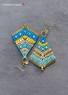 Bollywood micro macramé paste rhinestones gold metal multicolor rainbow bohemian chic asymmetric earrings surgical steel designer france