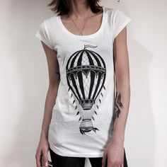 hot air BALLOON t-shirt vintage hot air balloon print womens tshirt Tee shirt for HER ladies top traditional tattoo print vintage balloon