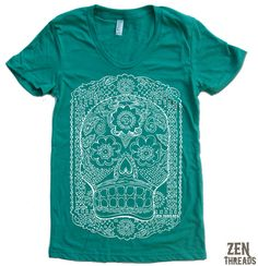 Womens DAY Of The DEAD T-Shirt american apparel S M L XL (17 Colors Available) on Etsy, $20.31 CAD
