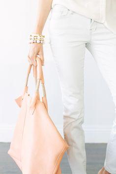 Freedom Bracelet - 31 Bits | Brass Bangles - Madewell | Leather Tote - Zara | Jeans - Madewell | Blouse - J.Crew