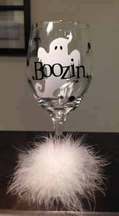 Boozin Booze Ghost Halloween Diva Wine Glass by DentalDivalicious