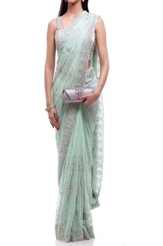 Mint Silver Saree..very pretty Indian Sarees Online, Desi Wear, Indian Wear, Indian Attire, Indian Outfits, Indian Dresses, Indian Style, Traditional Sarees, Saree Blouse Designs