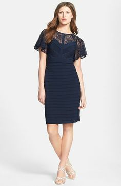 Adrianna Papell Flutter Sleeve Banded Dress available at #Nordstrom, love dresses with a sleeve.