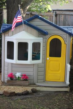 Using spray paint to revitalize old, dirty, faded outdoor plastic playhouses, tables, and cozy coupes.