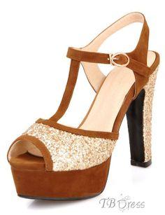 #Heel #Sandals #Toe Dazzling Peep Toe Chunky Heel Sandals - Four Colors