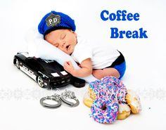 Policeman Photography Prop Newborn Police Cap and Diaper Cover Set Photo Prop. $45.00, via Etsy.