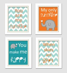Nursery Quad, Blue and Orange Nursery, You are my sunshine, Elephant Nursery, Set of 4 8X10, Orange, Blue, Grey