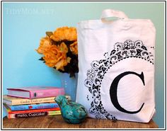 Monogrammed bags - Stenciled with a large doily!  Gorgeous!  Perfect for MOPS!