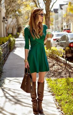 Diary of a Debutante: Preemptively Pinch Proof: Double Cross Green Dress + The Mint Julep Giveaway - Total Street Style Looks And Fashion Outfit Ideas Mini Dress With Sleeves, Dress With Boots, The Dress, Winter Dresses With Boots, Outfits With Boots, Mode Outfits, Fall Outfits, Fashion Outfits, Fashion Trends