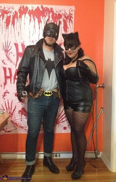 Greaser/Rockabilly Batman and Pinup Catwoman - Halloween Costume Contest via @costumeworks
