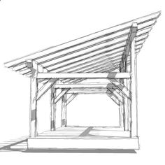 DIY 14x30' timber frame shed barn plan provides shelter for livestock or equipment. Enclosed, it can be used as a shed, workshop or small horse barn.