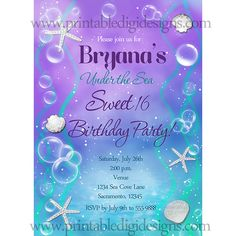 Under the sea sweet 16 birthday party custom invitation