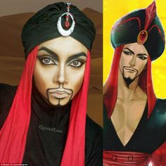 Jafar from Aladdin:The self-confessed 'comic geek' and 'Disnerd' doesn't just recreate female characters and recently shared a photo of her looking like Jafar from Aladdin where she used face paint, make up and very heavy contouring to achieve the look