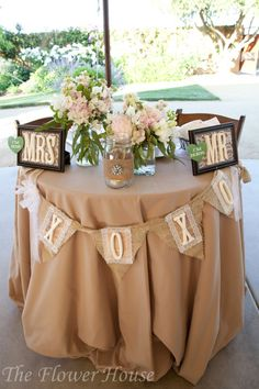 cute Mr. and Mrs. burlap and lace