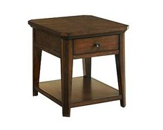 Estes Park Drawer End Table    Traditional Mission styling makes the Estes Park Drawer End Table tthe perfect chairside accent. It is designed with oak solids, oak veneers, a dark-stained Artisan oak finish, and antiqued-pewter bar-pull hardware.