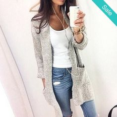 Long Sleeve knit cardigan sweater -                             Long Sleeve knit cardigan sweaterClothing Length: LongCollar: O-NeckSleeve Length: FullMaterial: Cotton,Polyester,Spandex                          - On Sale for $39.00 (was $48.00)