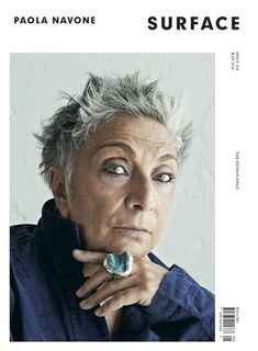 Designer Paola Navone. I love her incredible eyes and her very personal look. Also  grey hair cut short.......