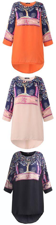 US$ 15.62 O-NEWE Folk Style Printed Long Sleeve O-Neck Chiffon Tops For Women