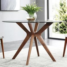 Description: The Cayman dining table features a Round Glass top with Wooden base available in Walnut or White Oak finish. Size: 120 (diameter) x :: cm 4 Seater Dining Table, Dining Table Price, Wooden Dining Tables, Table And Chairs, A Table, Table Bases, White Glass Dining Table, Round Dining Table Modern, Glass Top Coffee Table