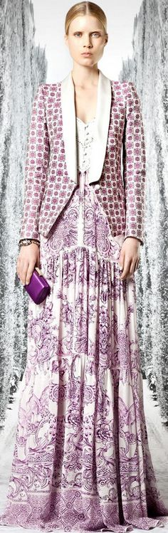 Wonderful combo of wild prints in similar muted colors. works great. Roberto Cavalli 2013