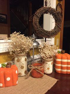 Fall decor using mason jars