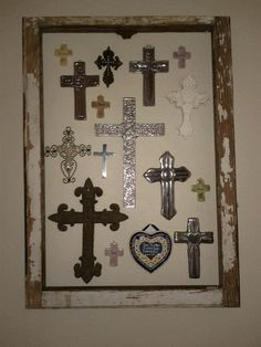 Old window frame + cross collection Energy Star Windows & Doors One of the best Cross Wall Decor, Crosses Decor, Wall Crosses, Cross Wall Collage, Mosaic Crosses, Window Frame Decor, Old Window Frames, Frames On Wall, Unique Picture Frames