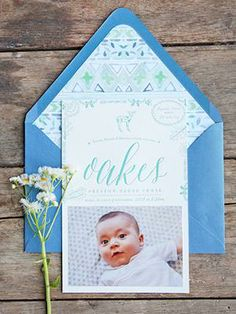 Oakes's Nature-Inspired Letterpress Baby Announcement by Tenn Hens Design