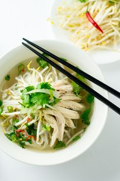 Chicken Pho by chichilicious / Tip. always roast spices first Asian Recipes, Healthy Recipes, Ethnic Recipes, Healthy Foods, Chicken Pho Soup, Vietnamese Soup, Vietnamese Cuisine, Vietnamese Recipes, Pho Recipe