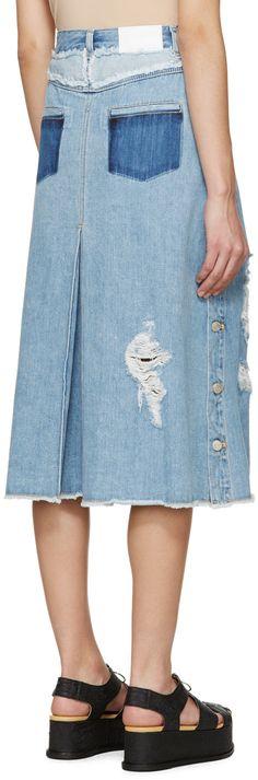 SJYP - Blue Distressed Denim Skirt