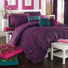 Kas Eloise Mini Comforter Set - Plum - Bed Bath & Beyond ($100) ❤ liked on Polyvore featuring house, rooms, bedrooms, home and bed