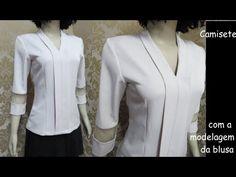 Camisete feita com modelagem da blusa /Luciete Vasconcelos Atelier - YouTube T Shirt Sewing Pattern, Dress Sewing Patterns, Clothing Patterns, Choli Designs, Blouse Designs, Diy Dress, Blouse Dress, Baby Clothes Sizes, Dress Pesta