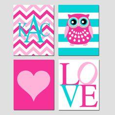 Baby Girl Nursery Art Quad - Set of Four 8x10 Prints - Striped Owl, LOVE, Chevron Monogram Initial, Simple Heart - Choose Your Colors