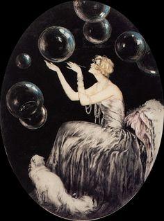 The Bubbles, 1930 - Louis Icart. Art Deco Posters, Vintage Posters, Art Deco Artists, Vintage Illustration Art, Art Deco Movement, Art Deco Buildings, Art For Art Sake, Art Deco Design, French Artists