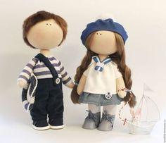 muñecas de colección hechos a mano. Ordenar una pareja en un estilo náutico. Larisa Fominich. Masters justas. el tema del mar, jack, pana