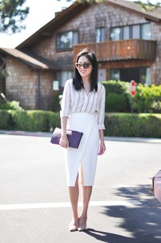 Office Style (Her): A white pencil skirt with dramatic lines paired with a striped button-up shirt for a perfect look, 9 to 5 chic.