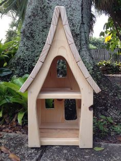 Fancy Wooden Fairy Waldorf Dollhouse by CottageFever on Etsy: Based on the pictures and the measurements I think I could duplicate this as a DIY for Roo. Wooden Dollhouse, Dollhouse Furniture, Dollhouse Miniatures, Wooden Crafts, Wooden Diy, Fairy Garden Houses, Wooden Animals, Waldorf Toys, Diy Holz