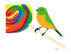 Kids wall art  Swirl candy art print  Sweet Tooth bird by PragyaK, $20.00 Nursery Art, Nursery Decor, Candy Art, Art Wall Kids, Kitchen Art, Bird Art, Wall Art Prints, Kids Room, Handmade Gifts