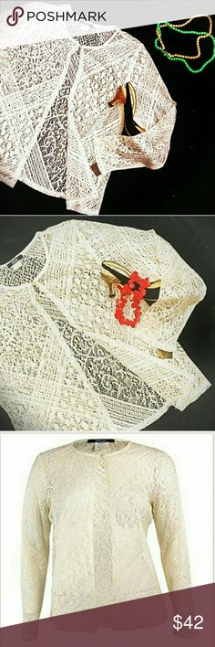 NWT MSK Lace Lightweight Cardigan Gold Cream Gorgeous Ivory and gold loose weave, lace-effect, very lightweight cardigan. Perfect with jeans or for holiday parties! This would be gorgeous over everything from a little black dress to a boho tank top. 90% acetate 10% metallic . made the USA. Approximate flat measurements bust 21 inches wide 19 inches and length 24 inches. Size L. New with tags. MSK Sweaters Cardigans