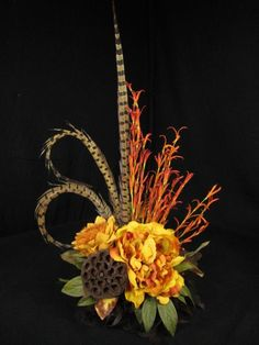 Gold and Rust Natural Pod and Feather Silk Flower Floral Arrangement Tile Topper Design