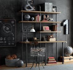 American style retro creative personality industrial water pipe wall shelf bookcase wood computer desk combination