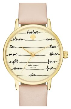 Waaaaant! kate spade 'time on wire' leather strap watch, 34mm
